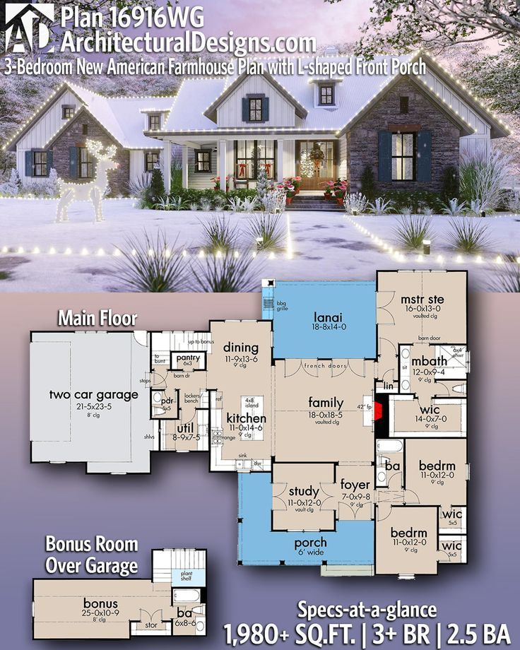 Plan 16916wg 3 Bedroom New American Farmhouse Plan With L Shaped Front Porch House Plans Farmhouse New House Plans Farmhouse Plans