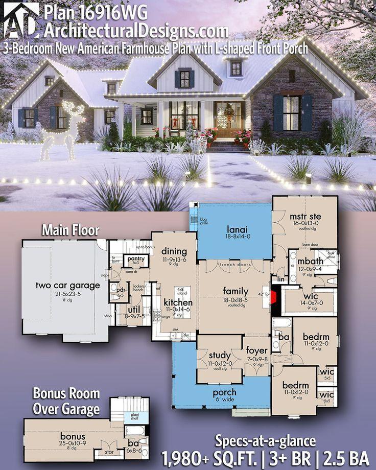 Plan 16916wg 3 Bedroom New American Farmhouse Plan With L Shaped Front Porch Farmhouse Plans House Plans Farmhouse House Blueprints