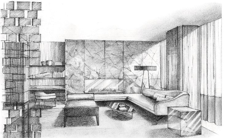 Living Room Sketch (by Alison McNeil)