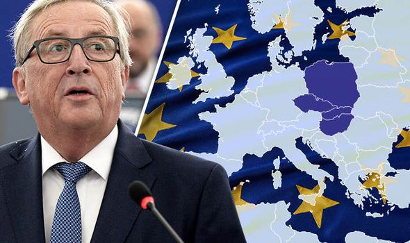 THE European Union appeared more fractured than ever today after a powerful group of eastern states laid down a series of demands over migration and the economy.