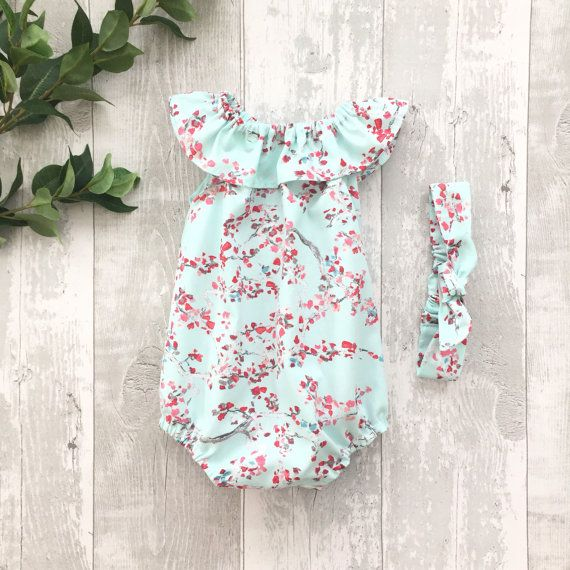 Baby girl romper ruffle collar baby sunsuit baby by MyCandyCloud