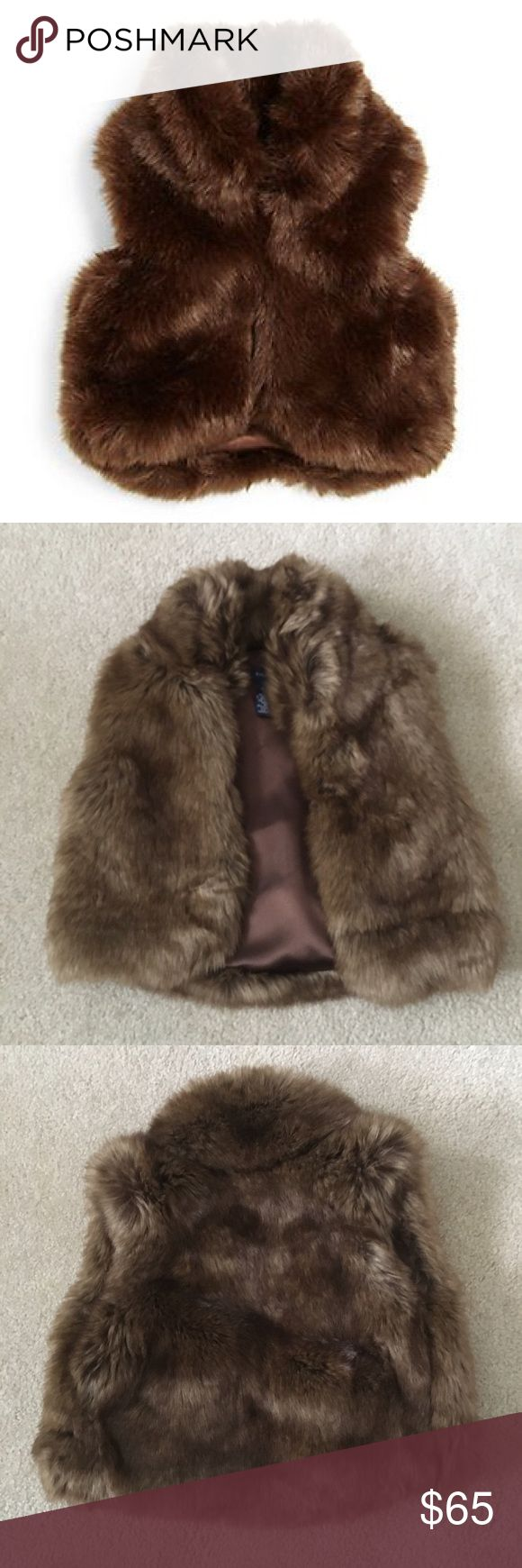 Ralph Lauren Toddler Girl Brown Faux Fur Vest NWT Ralph Laurent faux fur vest, loved this but clearly my very picky daughter did not.  She didn't share my love for RL clothing.  Was purchased at the RL outlet, runs in the smaller side, I bought it for her when she was 4. Ralph Lauren Jackets & Coats Vests