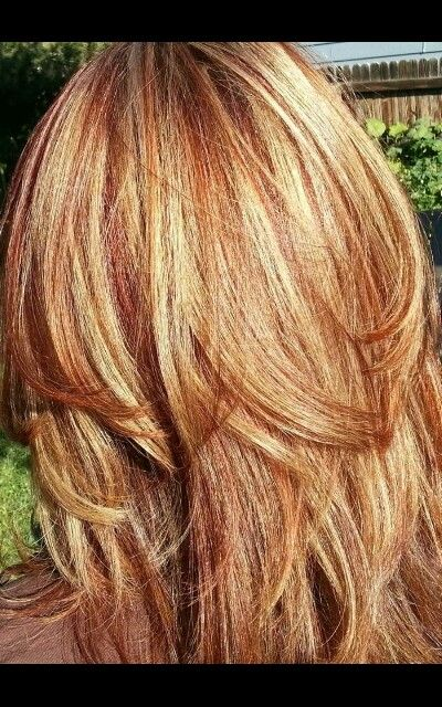Carmel and red highlights.