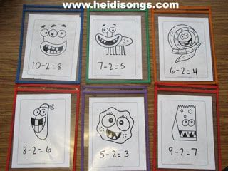 monster teeth subtraction and a heidisongs subtraction book lessons i like math. Black Bedroom Furniture Sets. Home Design Ideas
