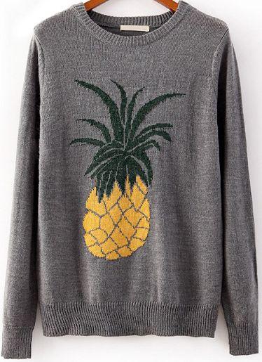 Grey Long Sleeve Pineapple Print Knit Sweater - abaday.com