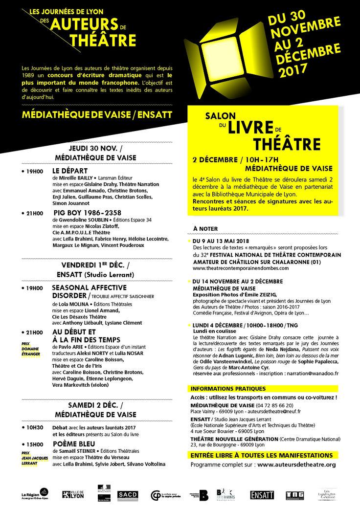 Programme. Les journées de Lyon des auteurs de Théâtre. Du 30 novembre au 2 décembre 2017 – FNCTA Auvergne-Rhône-Alpes