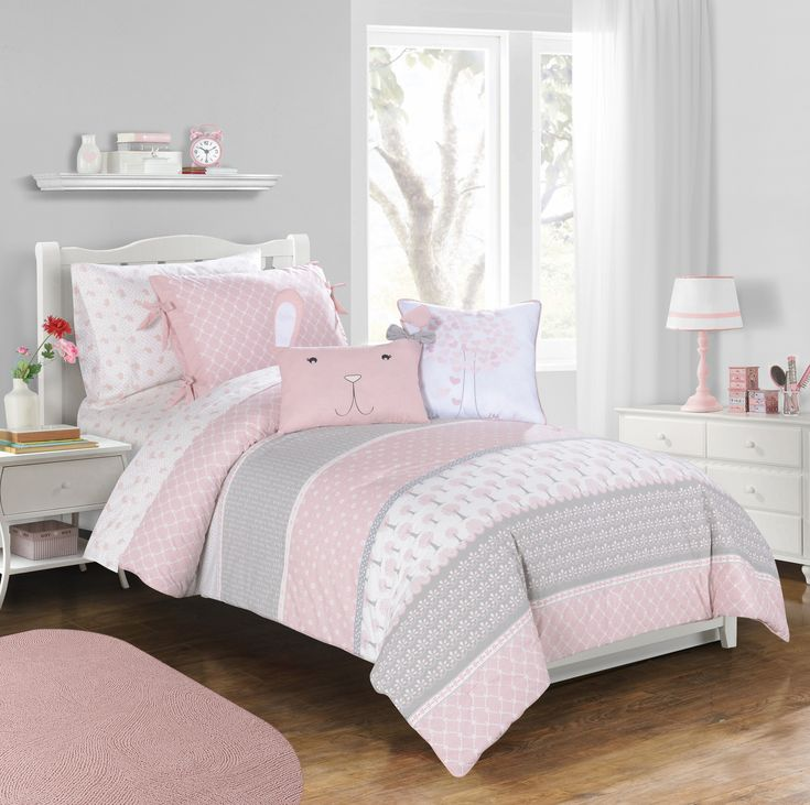 gray and pink twin girl bedroom ideas Heartwood Forest girls bedding collection by Frank + LuLu