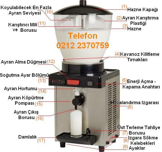 Köpüklü ayran makinası set üstü köpüklü ayran karıştırıcılı ayran akvaryumu satış telefonu 0212 2370749