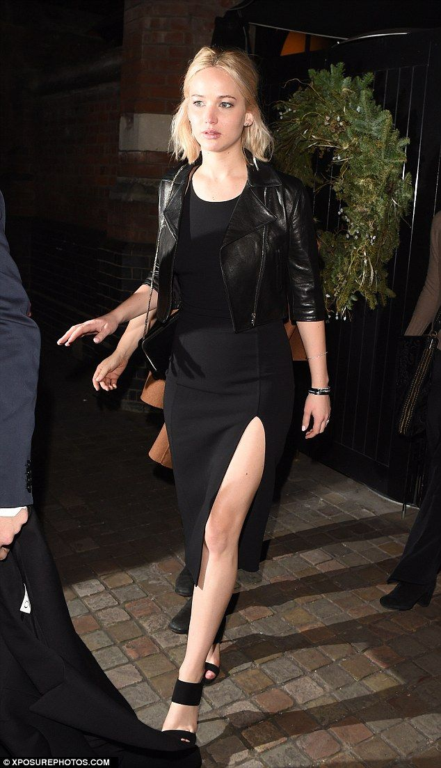 Glamorous arrival: Jennifer Lawrence favored showing some leg over chest when she stepped out for dinner at London's Chiltern Firehouse on Thursday evening, just hours after dazzling at the Joy photocall