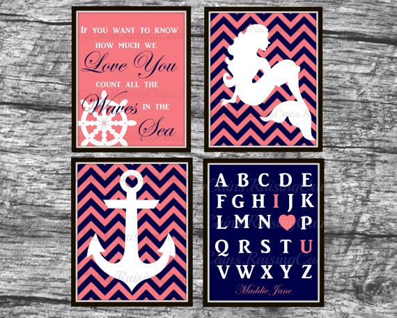 Girls Nautical bedroom decor Nautical Nursery wall prints Navy Coral Chevron wall art Mermaid Anchor Alphabet prints PRINTABLE nursery decor