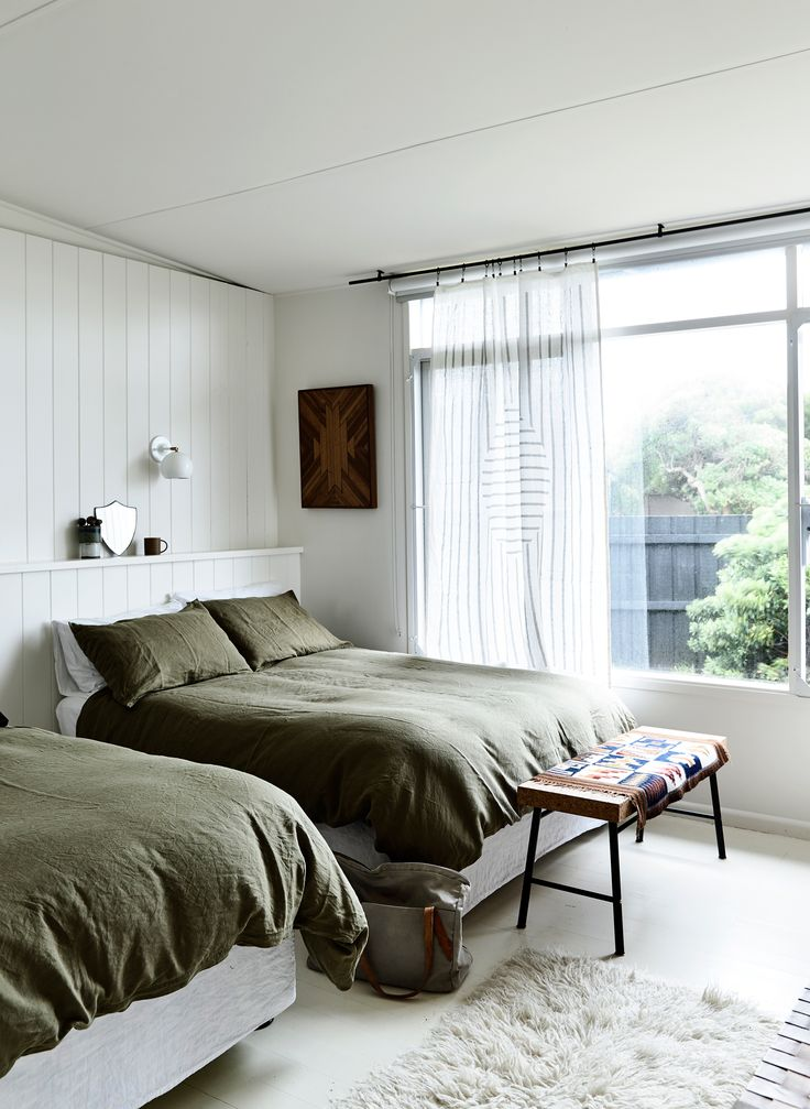 Guest bedroom from beach shack makeover by stylist Simone Haag. Story: Derek Swalwell | Styling: Simone Haag
