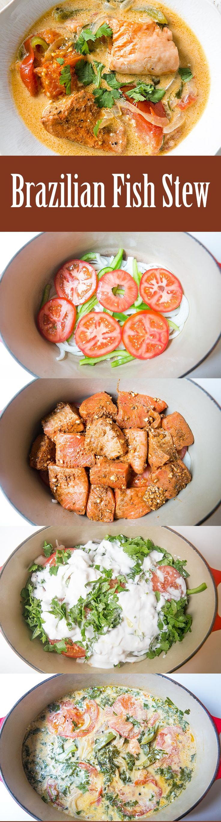 Brazilian salmon fish stew! Salmon cooked with tomatoes, bell peppers, onions, and coconut milk. So amazingly good! On SimplyRecipes.com