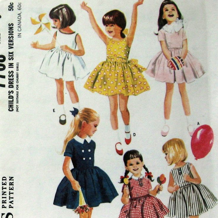Vintage Girls Dress Pattern 2 Neckline Styles by kalliedesigns