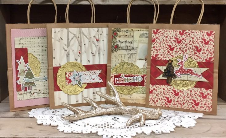 Beautiful decorated gift bags for Christmas.