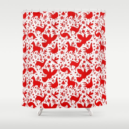 Otomi in red Shower Curtain by Daniella Germain. Worldwide shipping available at Society6.com. Just one of millions of high quality products available.