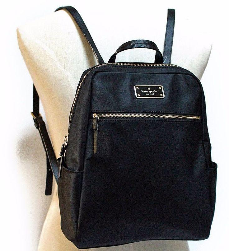 KATE SPADE Blake Avenue HILO Backpack Book Travel Bag ~ Black Nylon ~ NWT $248 #katespade #BackpackStyle