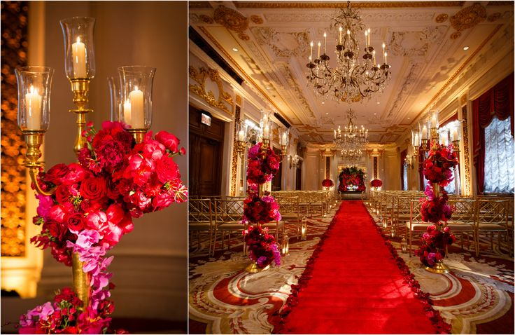 Rose Gold Wedding Ideas For Ceremony Reception Décor: St-regis-nyc-wedding-pink-red-flowers-roses-bouwuet-purple