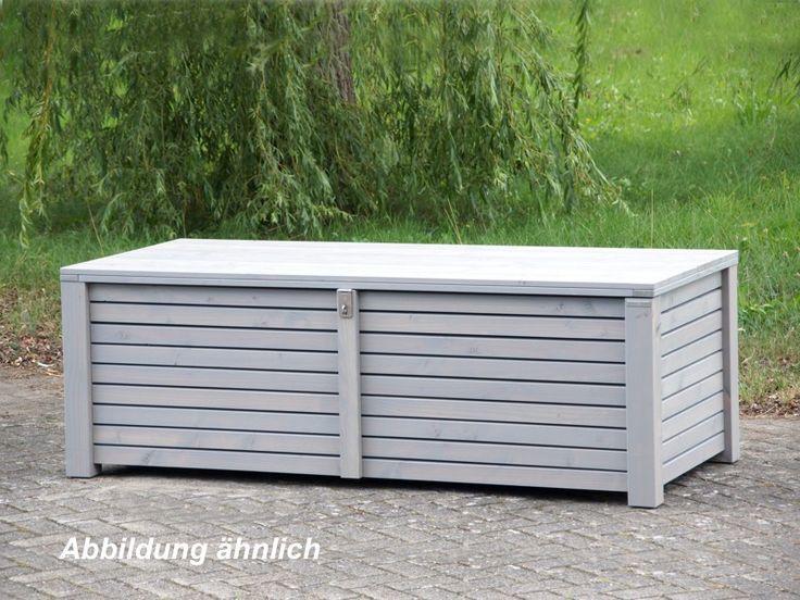 Auflagenbox / Kissenbox Holz XL, Transparent Geölt Grau