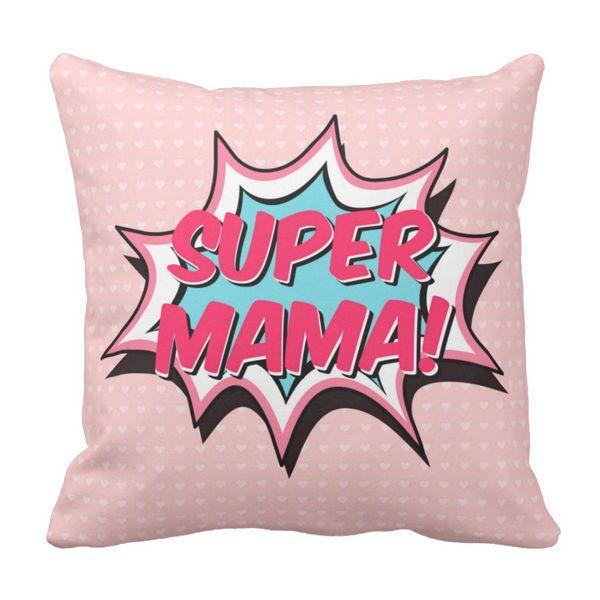 Poduszka dekoracyjna Super Mama pod-6505 | poduszki i poszewki ozdobne na ArtMini.pl