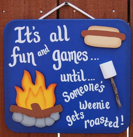 Funny Wood Camping Sign  Weenie Gets by