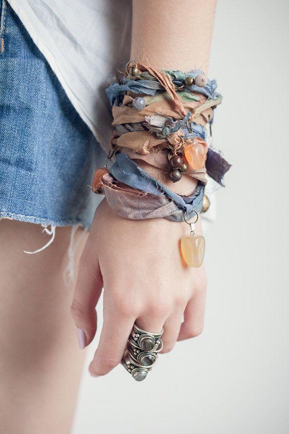 Wrist Wrap Recycled Sari Silk Bohemian Bracelet by foundryandco