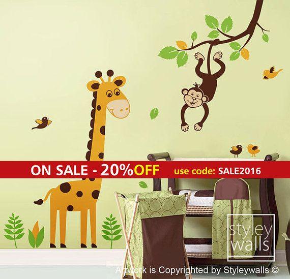 Giraffe Wall Decal Jungle Animals Monkey Swinging by styleywalls
