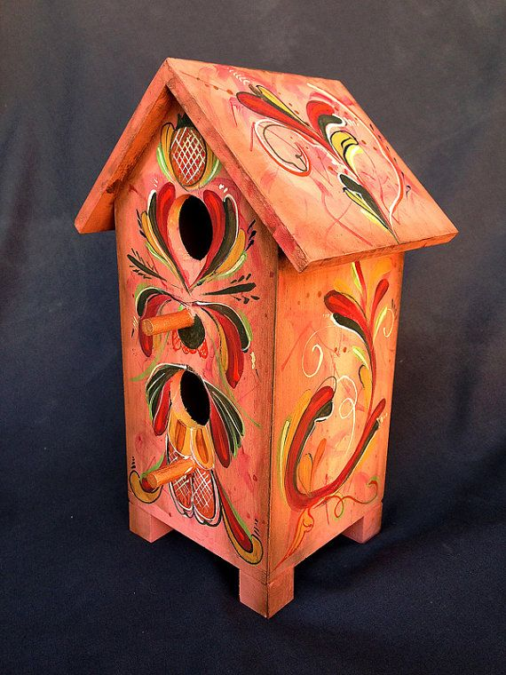 ROSE ROSEMALING BIRDHOUSE an Original Hand Painted by KrugsStudio,