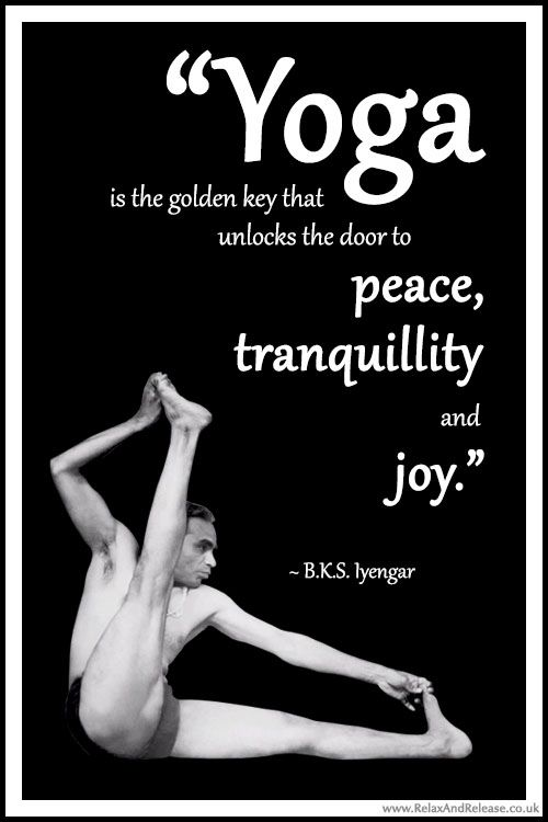 "BKS Iyengar Yoga Quote: ""Yoga is the golden key that unlocks the door to peace, tranquillity and joy."" .... #BKSIyengar #Inspirational #LifeQuote #YogaBenefits #YogaForAll #quoteoftheday #yogaquote"
