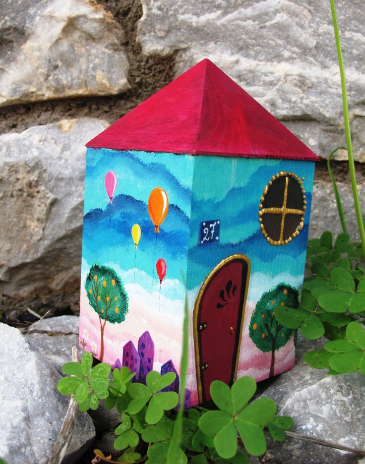 money box house with orange trees www.facebook.com/SofiaFileasArt