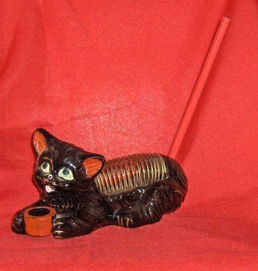 Black Cat Letter or Bill  Holder Unusual Vintage Cat Figure
