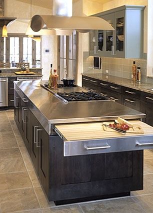 Stainless Steel Countertops, looks great with the black cabinets