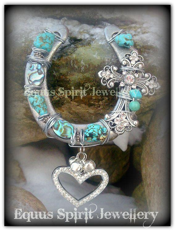 Gemstone good fortune horseshoe by EquusSpiritJewellery on Etsy, £22.00