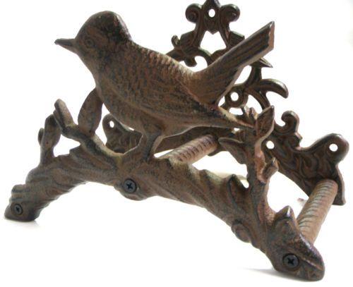 Hose Reel Cast Iron Bird Garden Ornament Rustic Holder Country Cottage   eBay