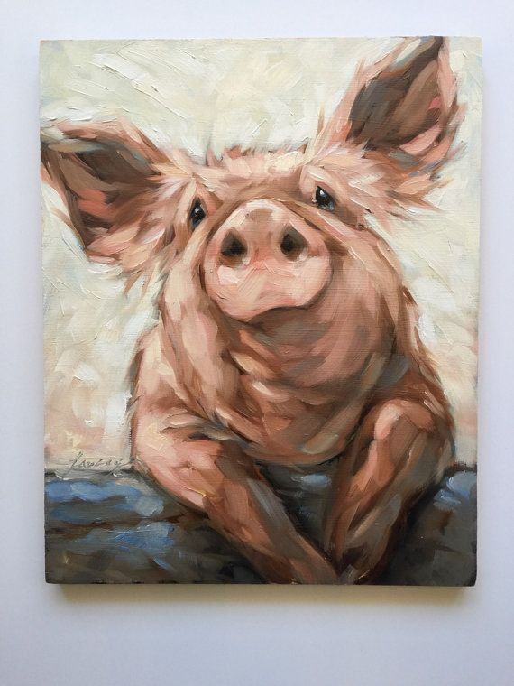 Pig painting Original impressionistic oil painting of by LaveryART