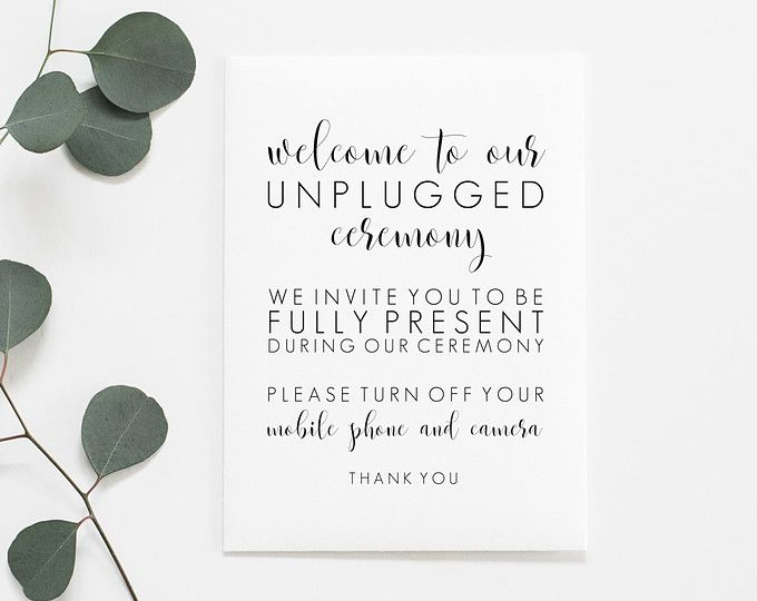 Unplugged Ceremony Printable Unplugged Wedding Sign Unplugged Sign