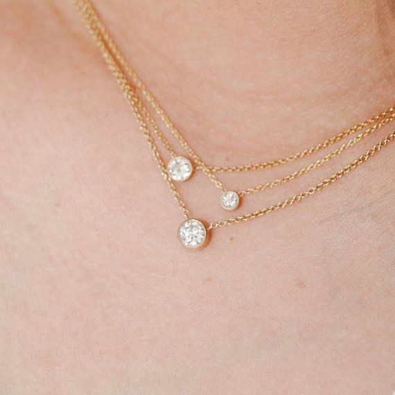 Diamond Necklace Layering Necklace Repurposed Old …