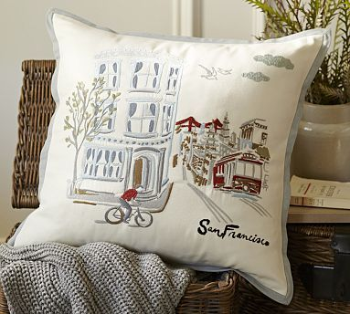 San Francisco Embroidered Pillow Cover 18x18 $39.50