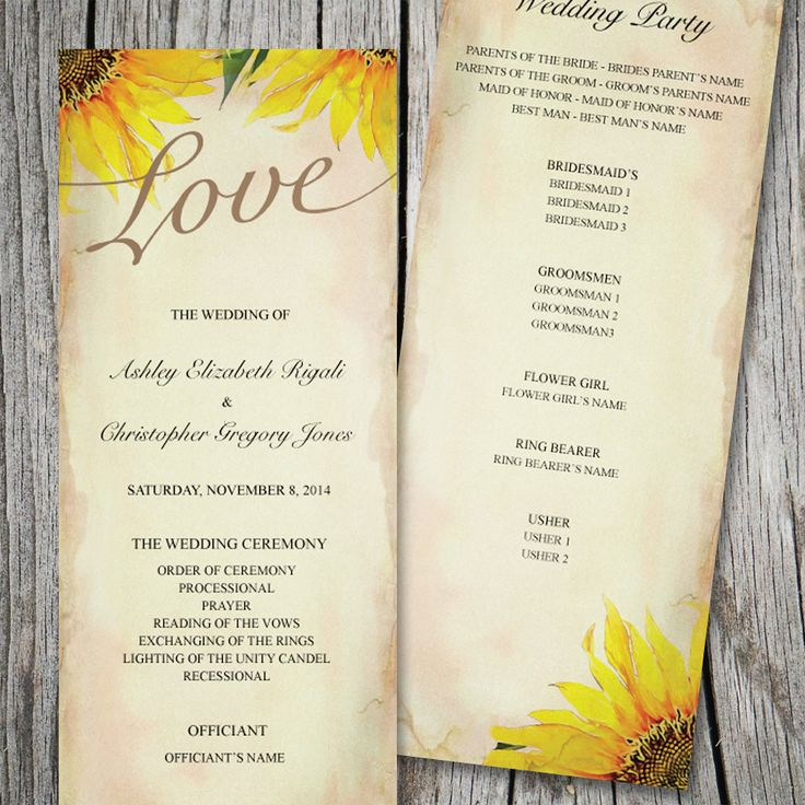 sunflower wedding invitations printable%0A Printable Rustic Sunflower Wedding Ceremony Program by VGInvites