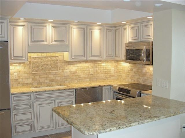 Kitchen Backsplash Pictures Travertine picasso travertine tile kitchen backsplash | floor decor client