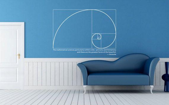 Science art mathematics Fibonacci Spiral & Aristotle quote vinyl wall decal on Etsy, $40.00