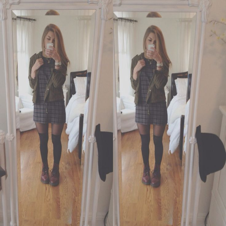 ootd: brandy melville dress and jacket, uo tights, doc martens :~)