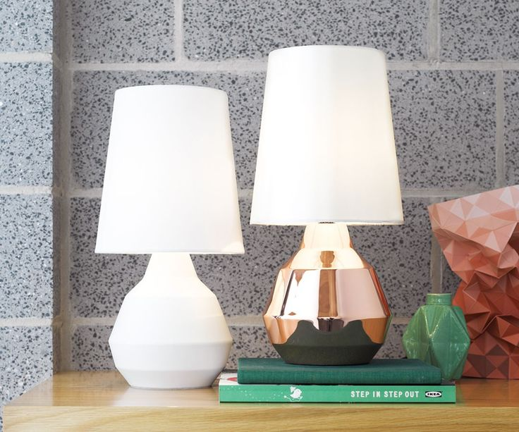 Beacon Lighting - Geo 1 light touch lamp with copper look metal base and textured grey shade
