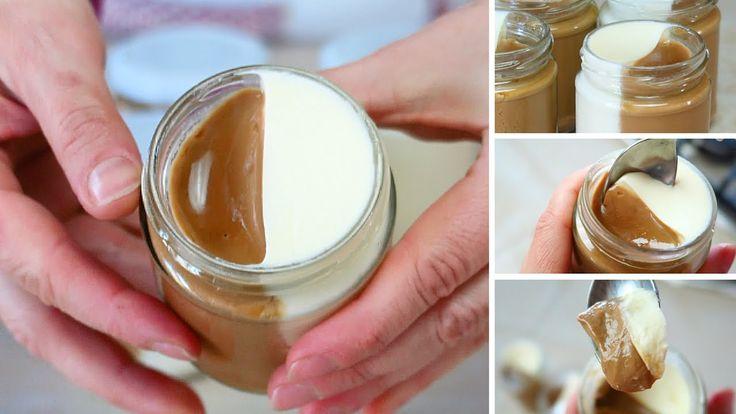 Panna Cotta Cappuccino Ricetta facile - Easy Cappuccino Pannacotta Recipe   Ingredienti: 400 ml + 400ml di panna fresca 80g + 100g di zucchero 6g + 6g di gelatina in fogli (colla di pesce) 3 cucchiai di caffè solubile.