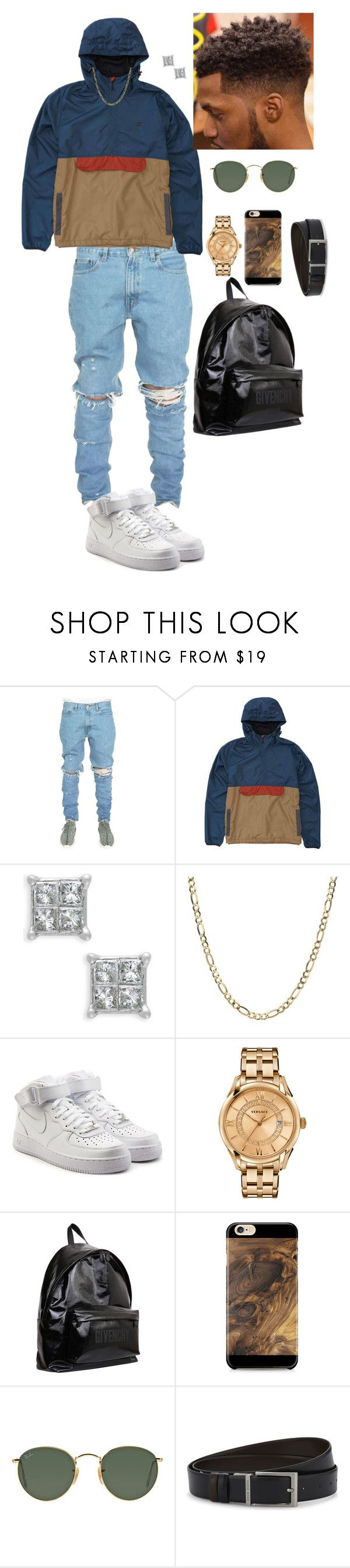 """""""Untitled #923"""" by medinea ❤ liked on Polyvore featuring Billabong, NIKE, Versace, Givenchy, Samsung, Ray-Ban, HUGO, men's fashion and menswear"""