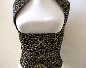 Vintage Black Satin and Gold Corset Vest - Black Satin and Metallic Gold Steampunk Corset Vest - Goth Wiccan Black Vest - Large to X Large