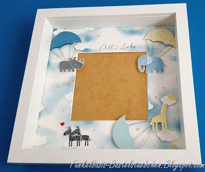 Ikea-Ribba Rahmen, Baby, Geburt, Zoobabies, Donnerwetter, stampin up, Fallschirme, Foto, Fotorahmen
