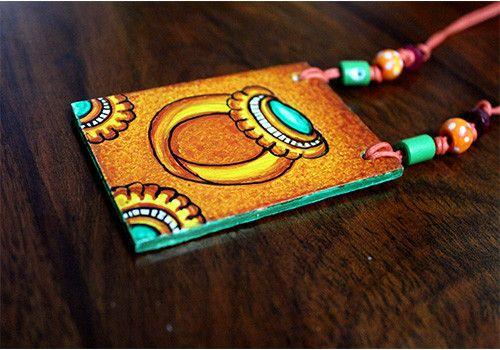 Handmade Kerala Mural Pendant Design 10 – Desically Ethnic ##Handmade Kerala Mural ##Pendant