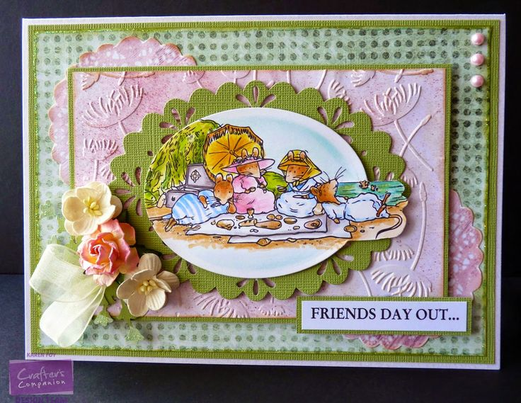 Picnic Mice at Beach Stamped image and sentiment from Sea Story, Brambly Hedge by Crafter's Companion Design paper and Doilies from CD Green Core'dinations card White Centura Pearl card base Die'sire Oval Frame die Die'sire 'Make a Wish' Embossing folder Flowers, Ribbon, Pearls, Glitter Collall Glue and Glue Gel Spectrum Noir Pens: BG6, BG4, BG2, CG1, CG2,  BT4, BT2, TN3, TN2, GB8, FS3, CT4, CT3, OR1, PP5, PP3, PP1, TB3, TB1, EB1, EB2 Spectrum Noir Pencils: 88, 89, 47, 45, 34, 17, 56, 65, 61