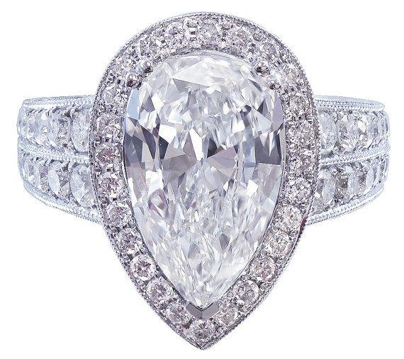 14k white gold pear shape diamond engagement ring art by KNRINC