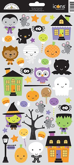 Doodlebug Design - Ghouls and Goodies Collection - Halloween - Cardstock Stickers - Icons